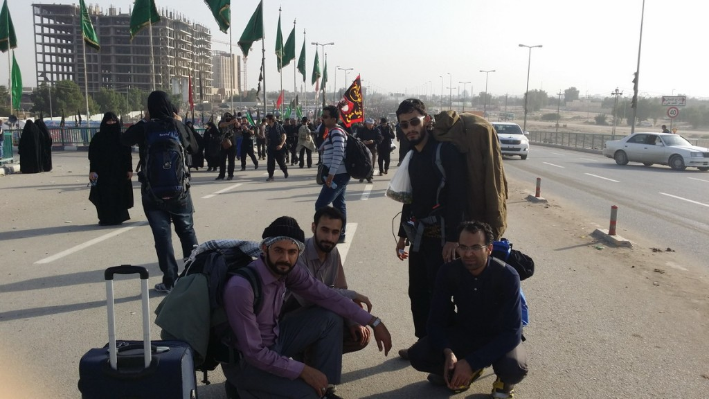 Start of the largest walking towards Karbala Arbaeen 2014 - در ابتدای مسیر یا حسین