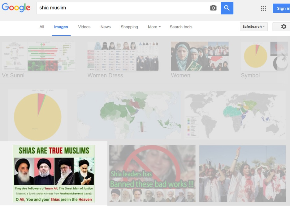 Shia Muslim in Google